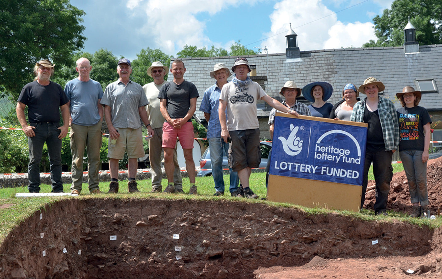 below Some of the 79 volunteers who took part in 30 days of excavation to uncover the story of Longtown's two castles.
