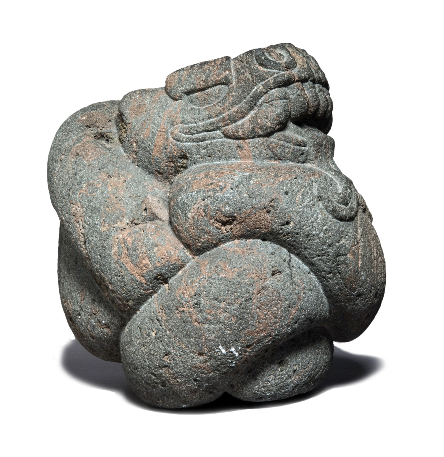 above Stone sculpture in the shape of a snake, c.1350-1521. Size: 34 x 23 x 30cm