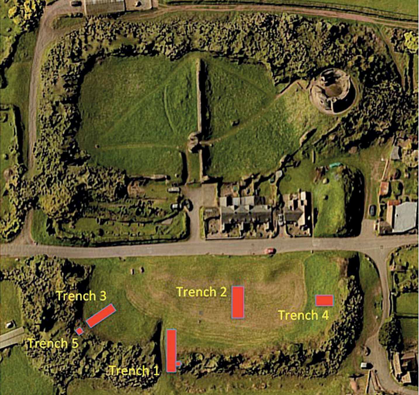 left The locations of the trenches excavated by the Longtown Castles Project team at Longtown Castle. Trench 1 was located to investigate the rampart, while Trench 2 yielded the medieval road overlying a Roman kiln or oven and a series of carbonised oak planks.
