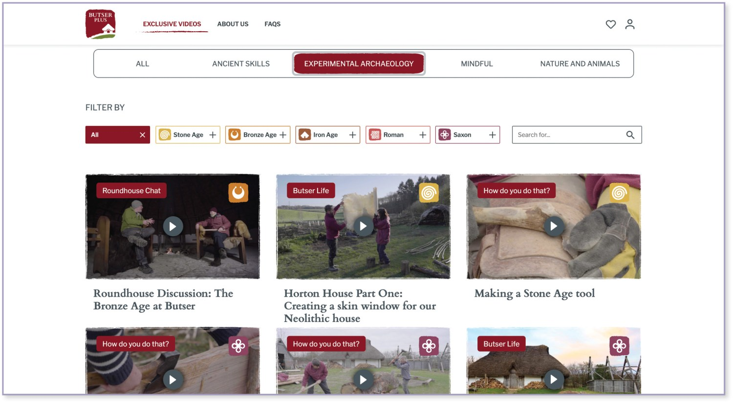 ABOVE A screenshot showing some of the exclusive videos available to subscribers to Butser Plus, the Farm's new virtual platform to share their archaeological experiments.