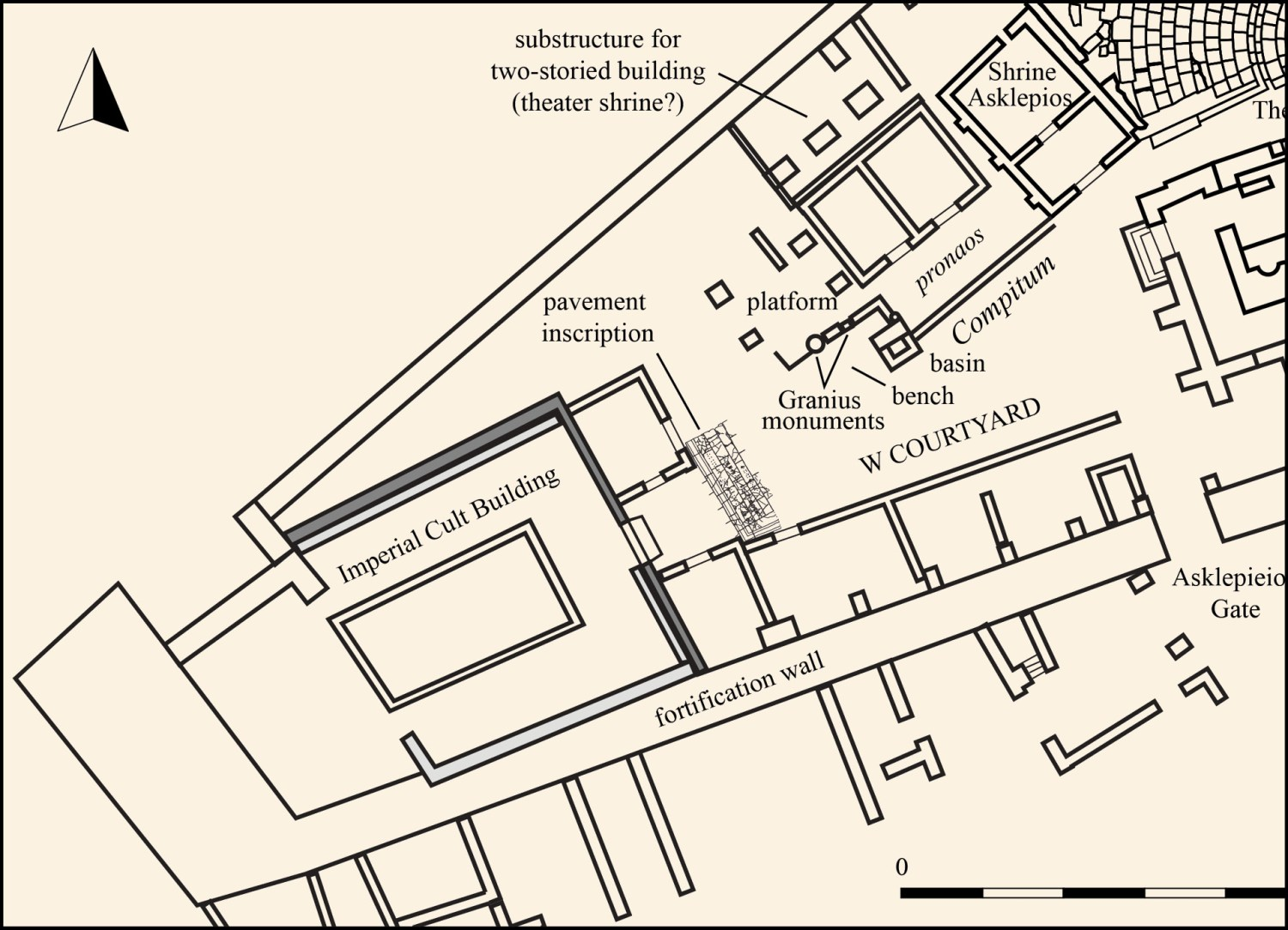 LEFT A plan of the W Courtyard, showing the compitum and adjacent structures.