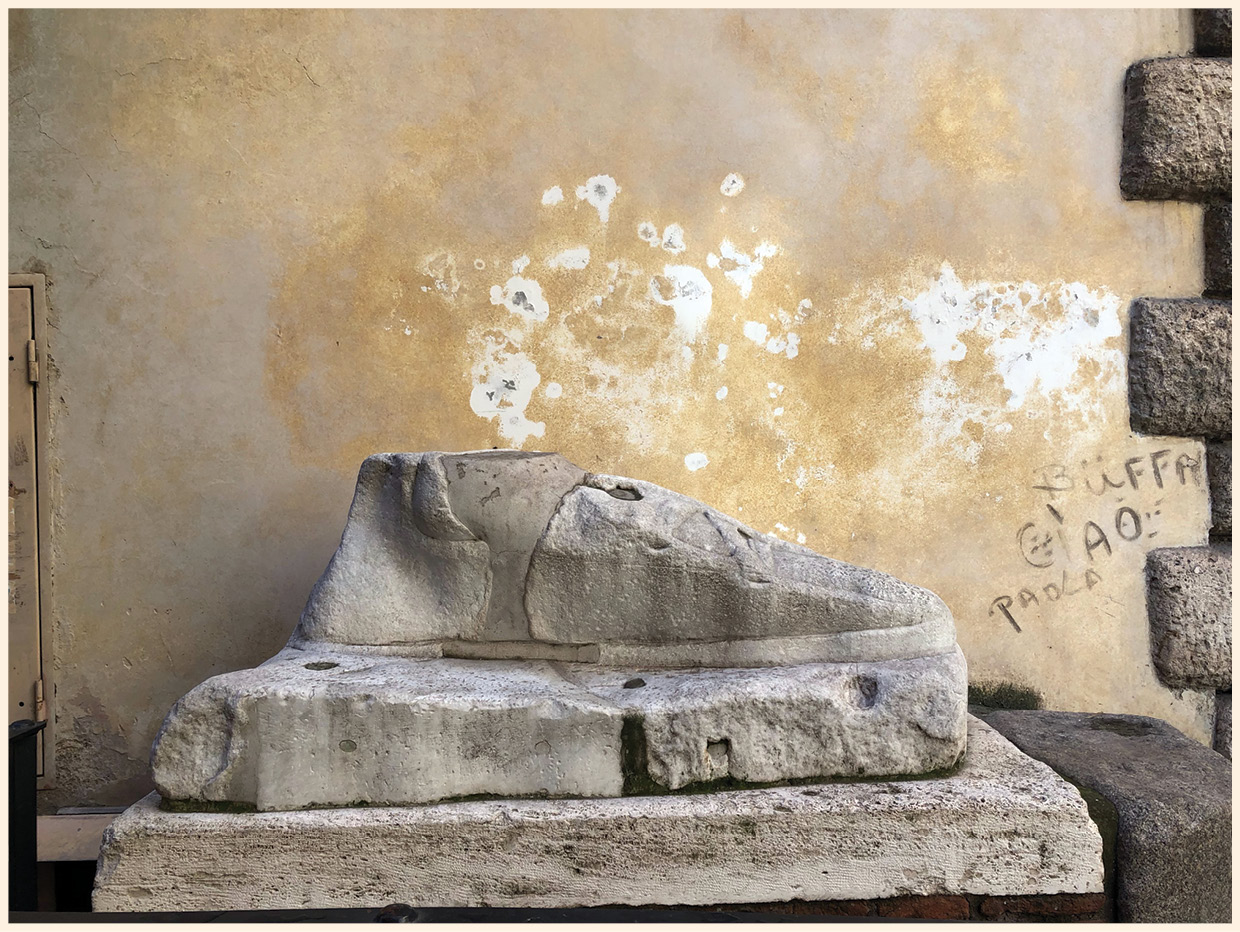 left & ABOVE This colossal marble foot, possibly belonging to Serapis, is easy to miss. Those who do chance upon it are left none the wiser about its significance.
