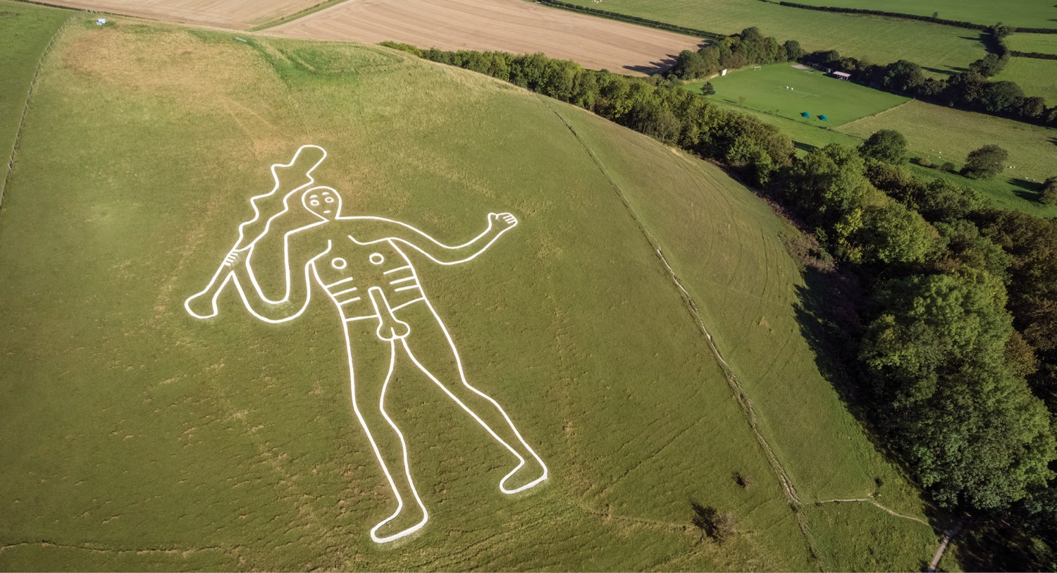 above Overlooking the Cerne Abbas Giant in Dorset. New dating evidence for this chalk hill-figure suggests that its origins might lie in the late Anglo-Saxon period.