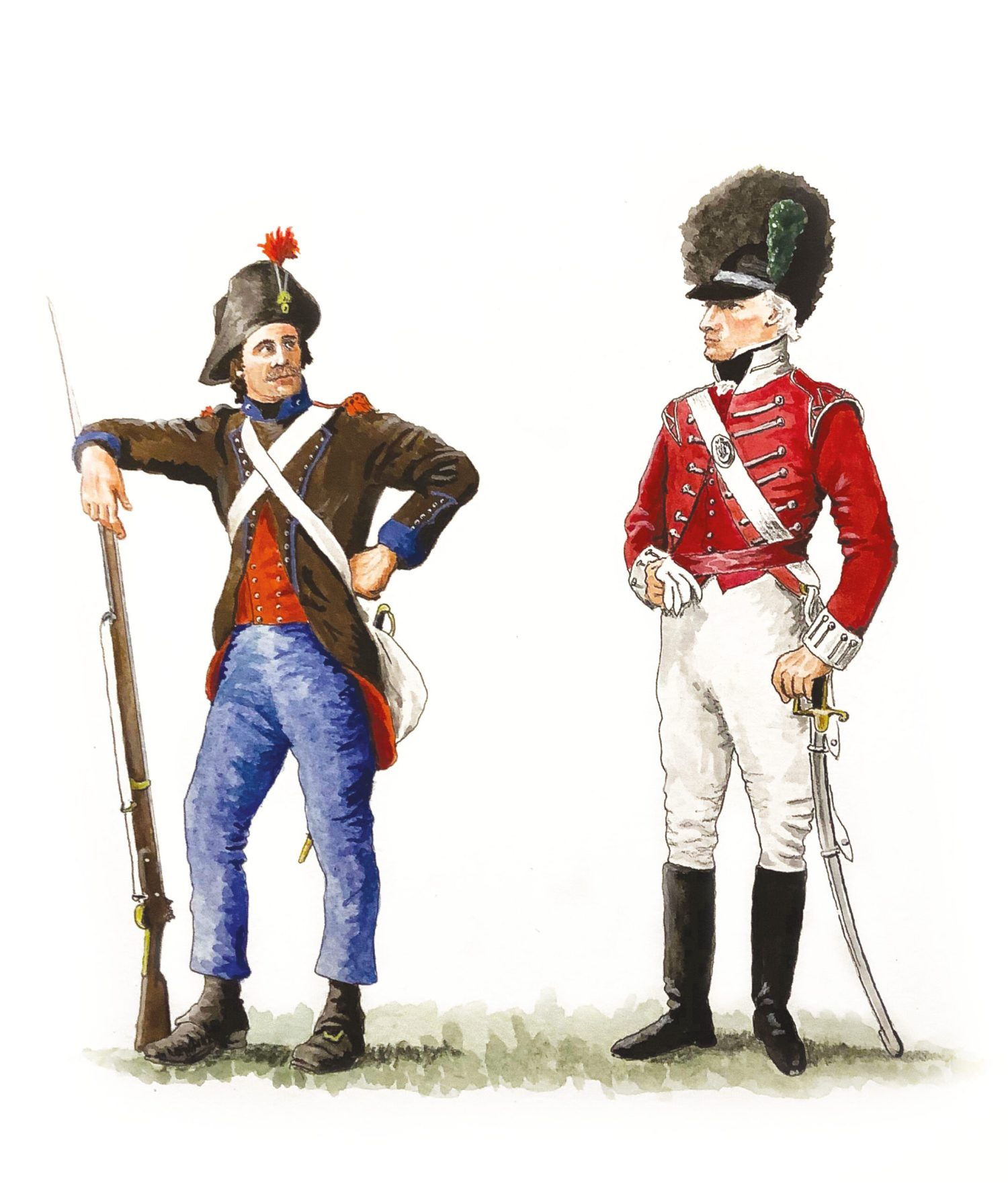 below Left Grenadier of the 2nd Légion de Francs, the 'Légion Noire'. The Légion's coats with splendid irony were British, having been seized in 1795 when equipment was landed at Quiberon Bay in support of the Vendée Rebellion. They seem to have evolved into chocolate brown, having been dyed black: hence the nickname. Otherwise, the Légion were armed and dressed like conventional French infantry of the period. below Subaltern, Light Company, Fishguard and Newport Volunteer Infantry. A short coatee or jacket of light-infantry pattern still exists for this unit. The Light Company would probably have worn a crested leather hat of light-cavalry pattern and carried a curved sabre (which were just coming into vogue). Despite only being part-time units, surviving clothing suggests that they were well and uniformly dressed.