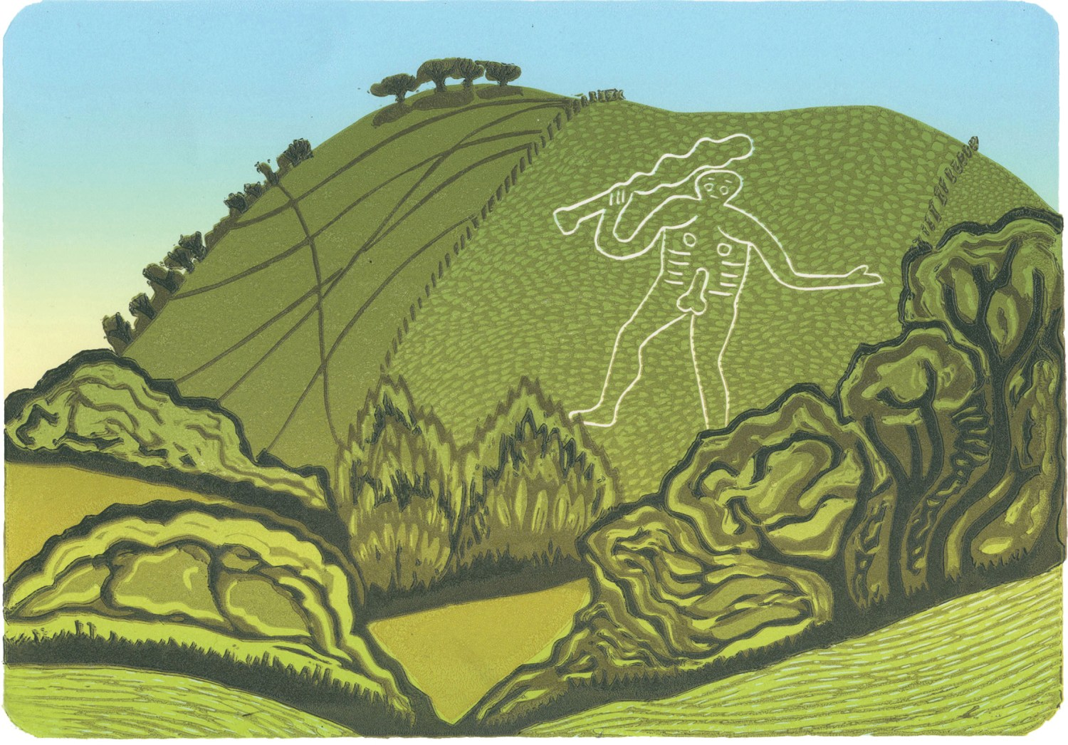 ABOVE Based on a sketch created on location after cycling to the site in 2015, this lino-cut by Katherine Anteney (https://katherineanteney.co.uk) depicts the immediately recognisable Cerne Abbas Giant.