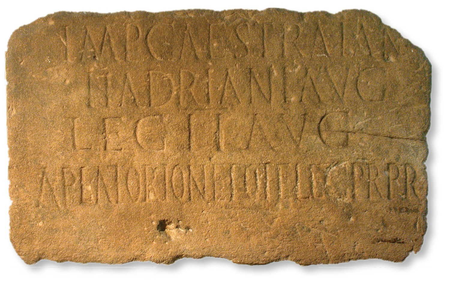 left A 3D-scan of the tombstone of Regina from South Shields. Regina was a member of the British Catuvellauni tribe who married a man from modern Syria, and ended her days on Hadrian's Wall just one of many hints of intriguing human stories from the communities that bounded the Roman frontier. right This inscription from Milecastle 38 (Hotbank) was one of the first direct pieces of evidence from the Roman Wall that proved it was built in the reign of Hadrian.