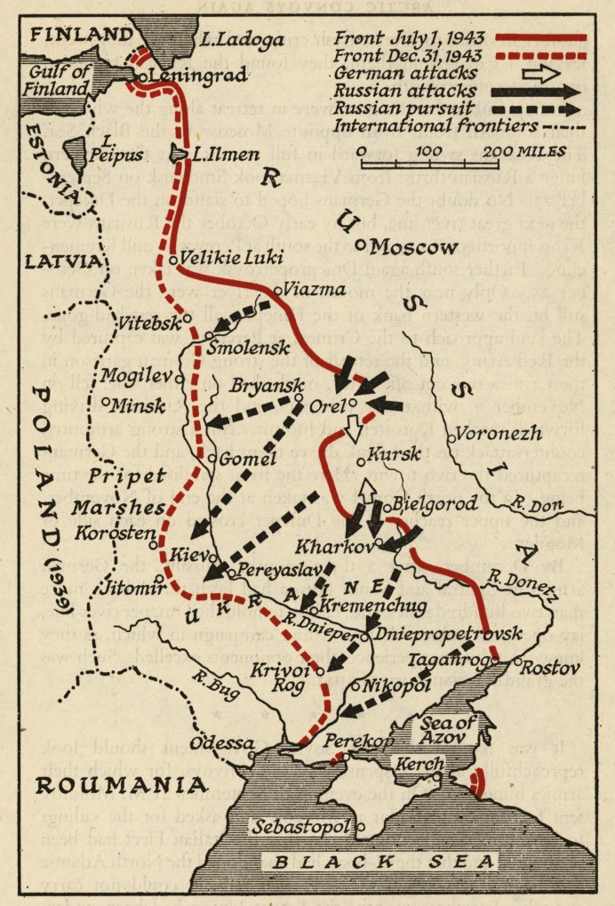 ABOVE Map showing the strategic situation on the Eastern Front in the summer of 1943. The main campaign opened in early July 1943 with the German double-pincer offensive against the Kursk Salient. The Soviet counter-offensive through the rest of the year rolled all the way to Kiev.