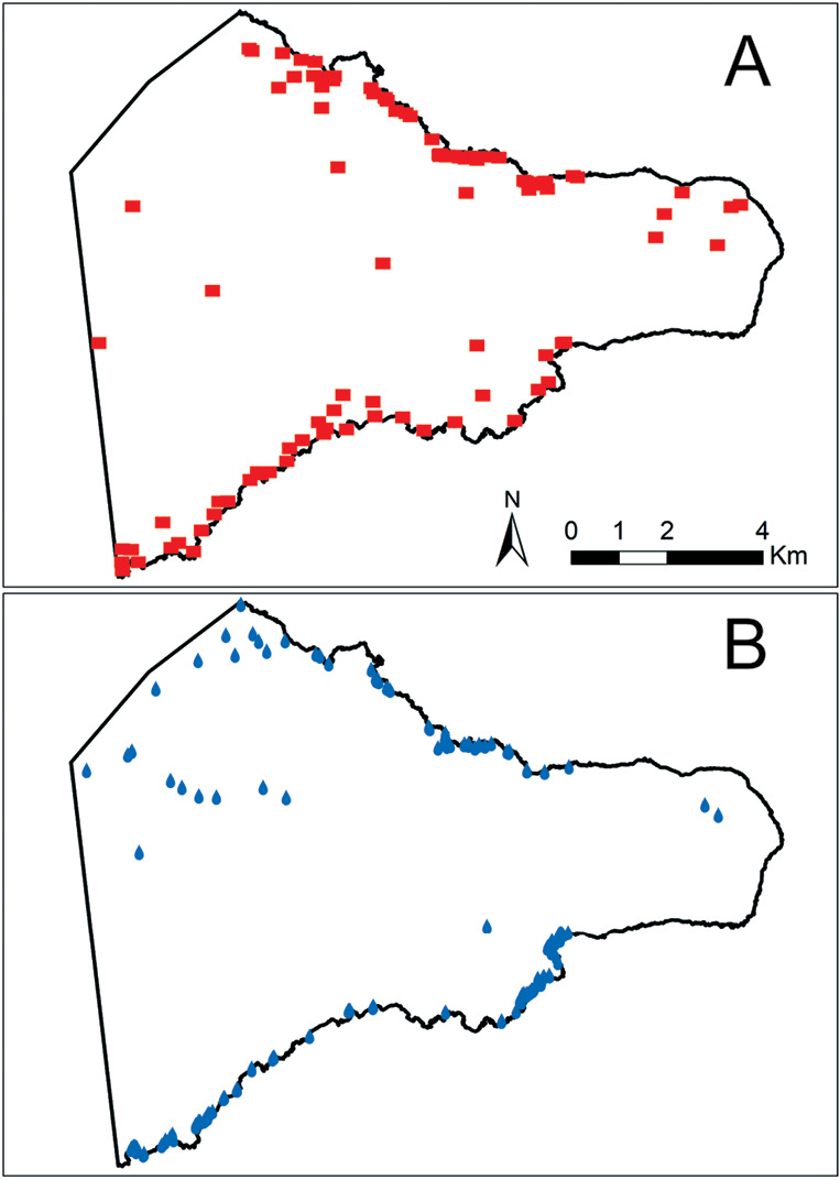 right The study looked at the relationships between the locations of ahu and different environmental variables, like gardening areas, good fishing spots, and sources of freshwater. These two maps mark the locations of ahu (above) and freshwater (below).