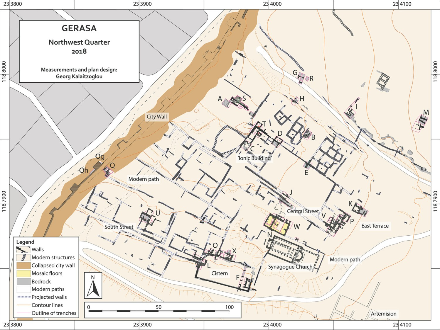 RIGHT A map showing the Northwest Quarter of Jerash. The excavated trenches are marked with letters.