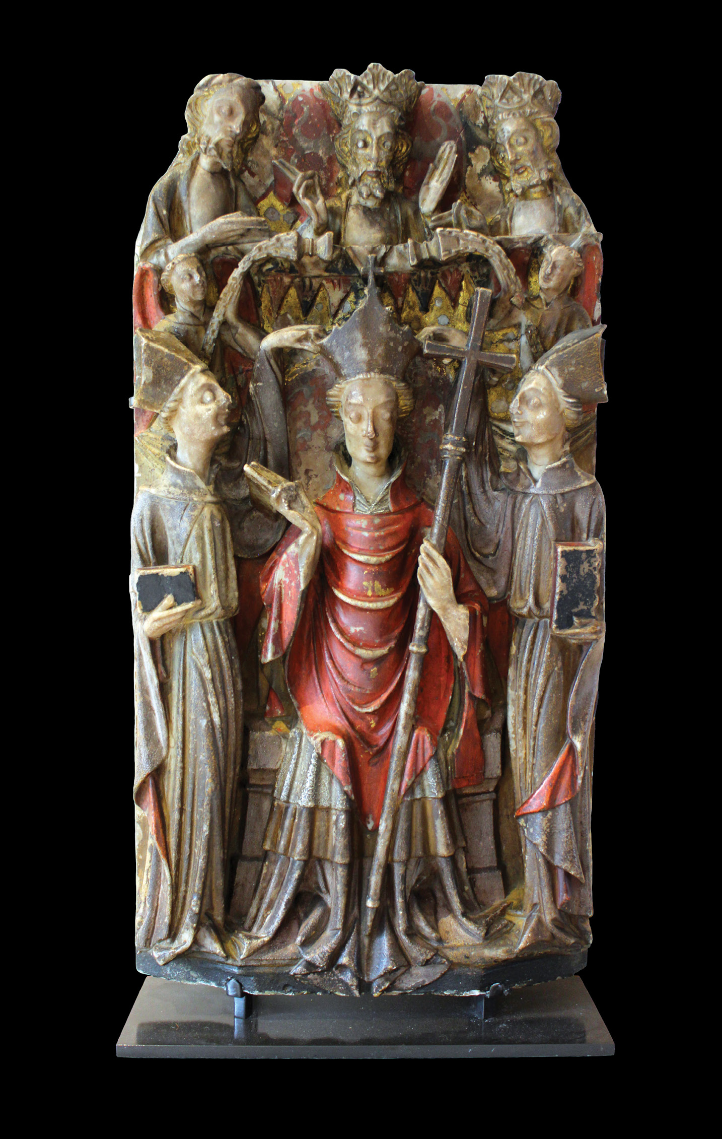 right Made c.1425-1450, on the eve of Henry VIII's orders for the destruction of Becket's shrine, this alabaster panel comes from an altarpiece depicting Becket's life and miracles. Here God the Father presides over Becket's consecration as Archbishop of Canterbury, an event that took place on 6 June 1162. Henry II appointed Becket who had not even been ordained as a priest at the time in the belief that his friend would be compliant.