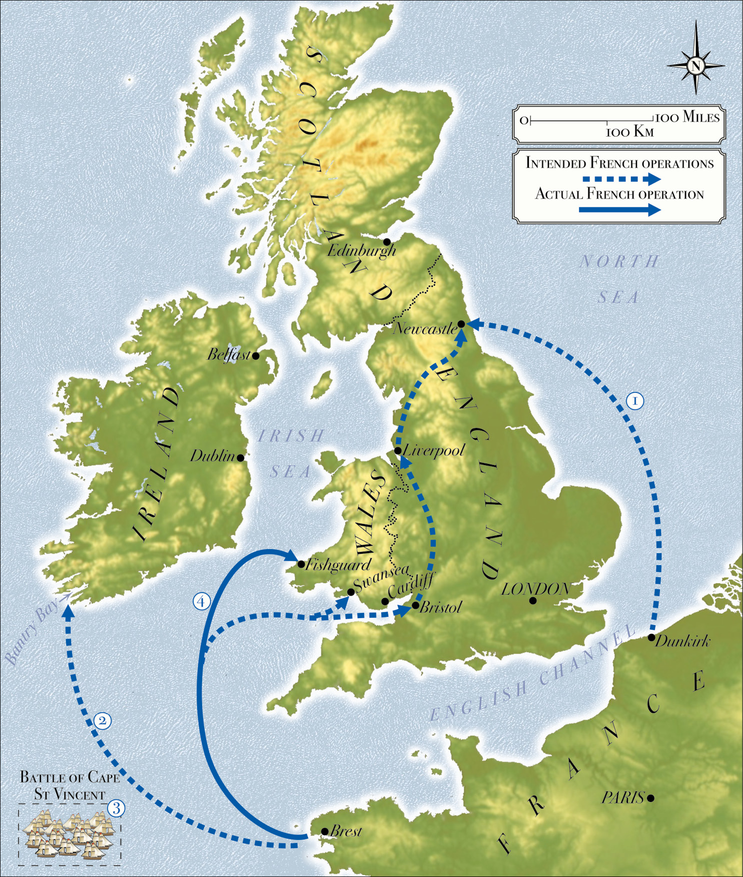 ABOVE Map of planned French operations against the British Isles in 1796-1797: (1) The abortive Newcastle landing (November 1796). (2) The abortive Bantry Bay landing (December 1796). (3) The defeat of the Spanish fleet at the Battle of Cape St Vincent (14 February 1797). (4) The diverted Fishguard expedition (February 1797).