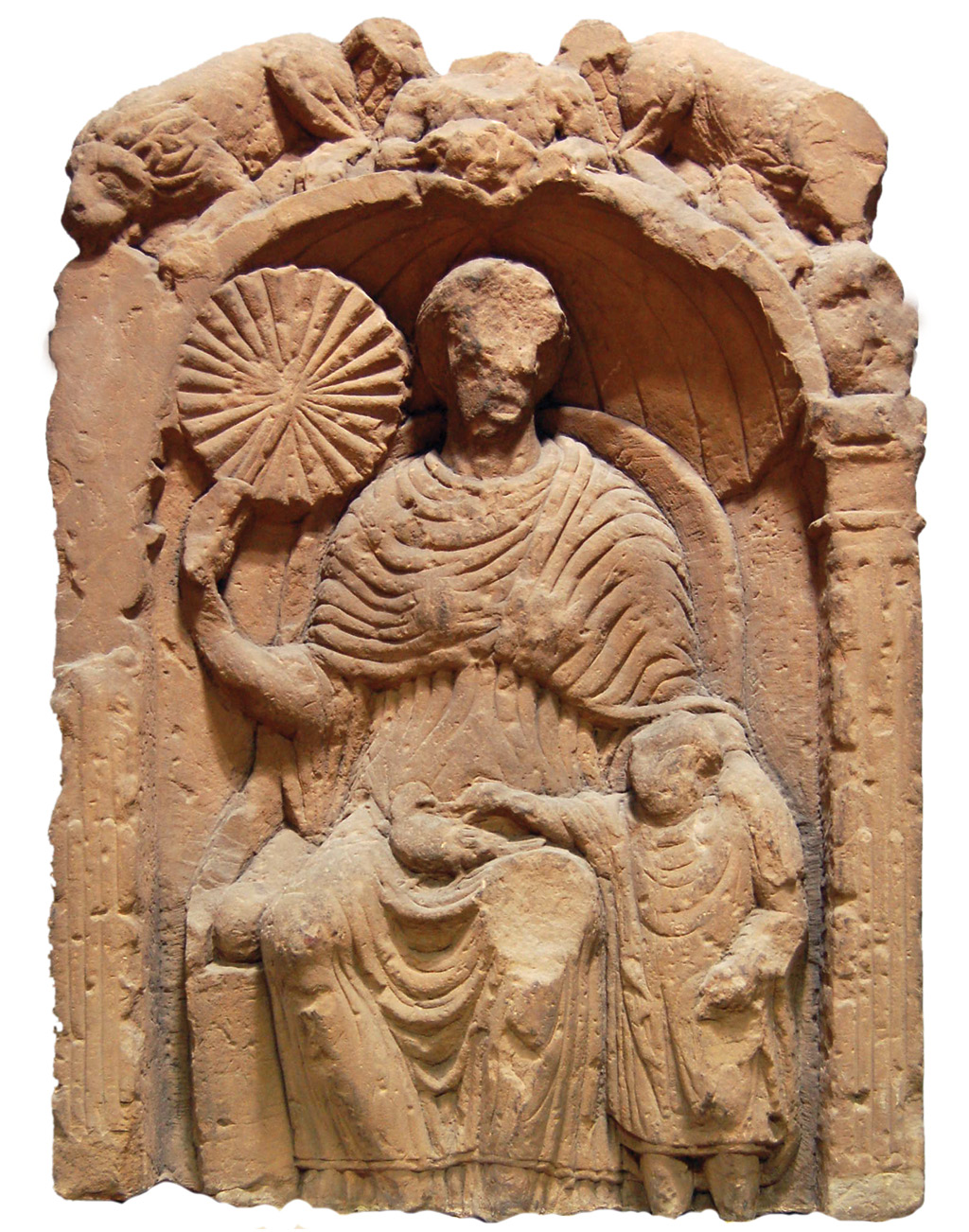above This gravestone of a woman with her son is the most elaborate example of both funerary sculpture and fashion from Roman Carlisle.