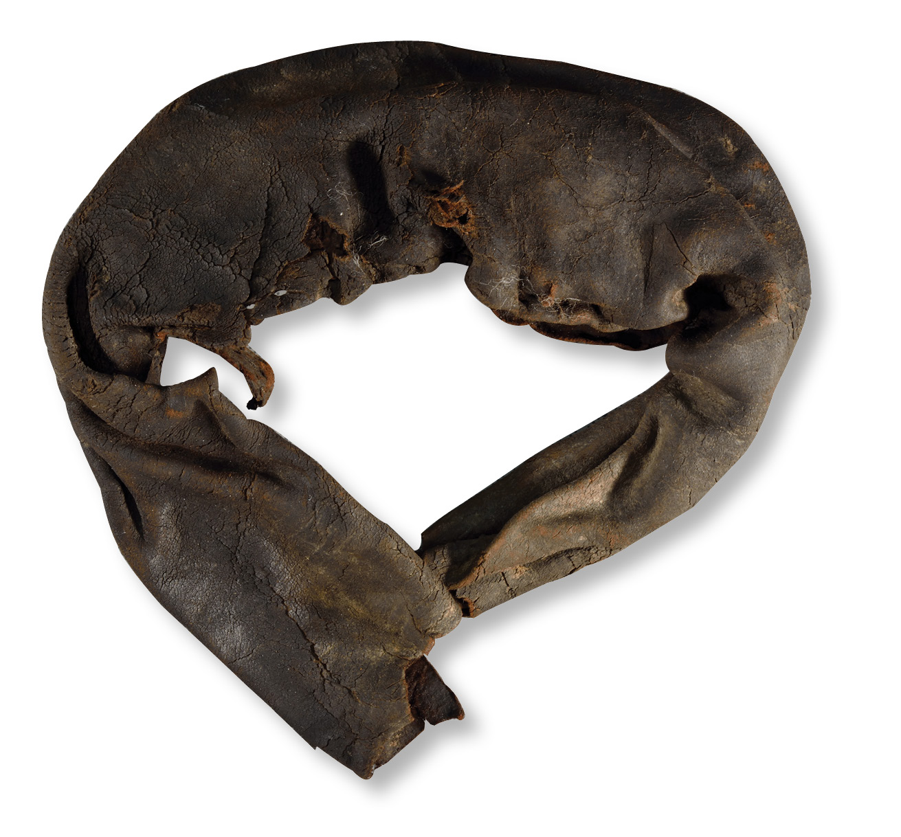 left One of two Roman boxing gloves that were found during the investigation of a hastily abandoned barrack building. The objects are the only known examples of their kind.