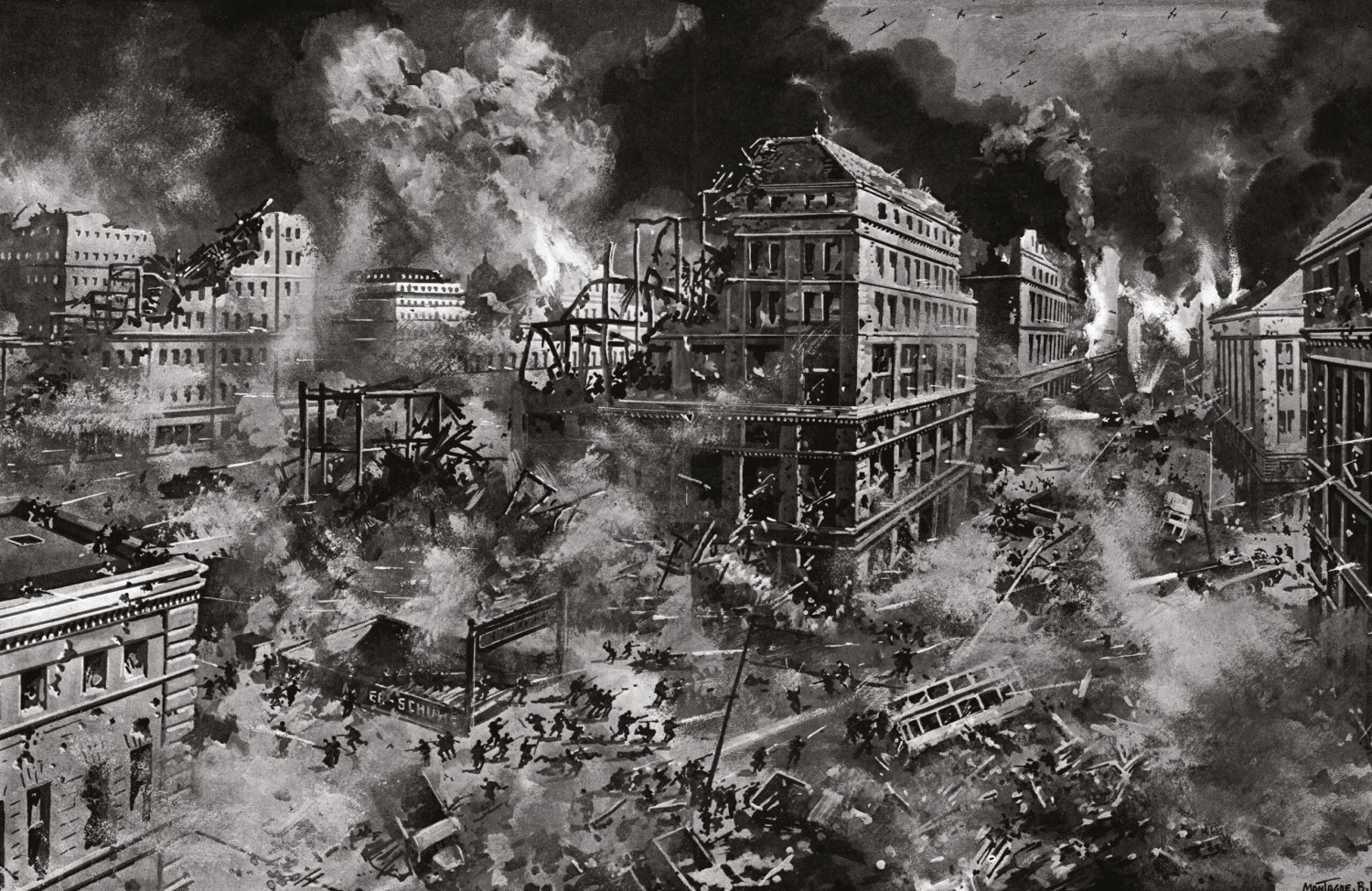 BELOW A contemporary war artist's depiction of the fighting between the Wehrmacht and the Red Army in the streets of Berlin.