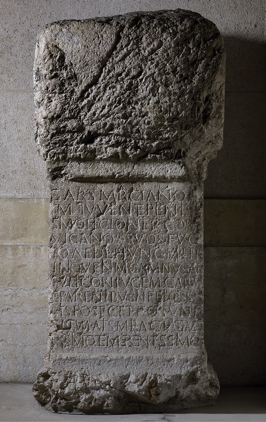 BELOW The epitaph for Gaius Arsius Marcianus (named in the first line) was set up by his wife Atisia Maria (named in the penultimate line), following the murder of her husband.