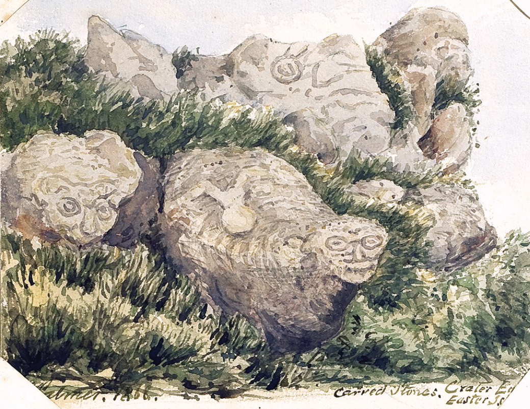 left In another previously unpublished watercolour of 1868, Palmer depicts a carved rock with a protruding face (in the foreground). The rock has since disappeared into the sea. below left A photographic image of the rock group taken by William Safford in 1886, documenting the same boulder with the protruding face still in its place. below Georgia Lee's photograph of the site shows the precarious location of carved boulders on top of the cliff and the gap where the missing boulder with the protruding face once sat.