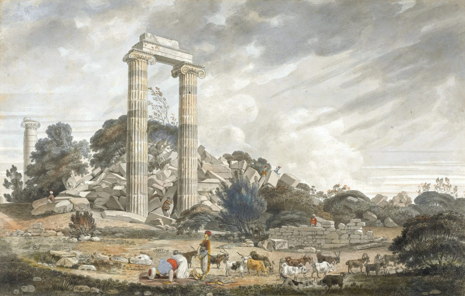 OPPOSITE William Pars, Ruins of the temple of Apollo at Didyma, from the north-east¸ October 1764. Pen and grey and black ink, watercolour, with gum arabic and some body colour. Size: 299 x