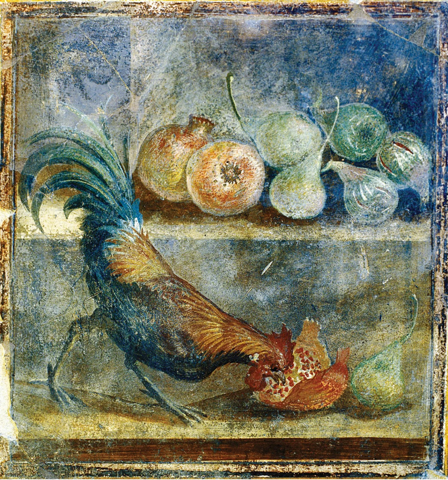 above Homes in Pompeii were decorated with frescoes celebrating food and feasting. This AD 45-79 still-life wall panel from the House of the Chaste Lovers depicts a cockerel pecking at pomegranates, figs, and pears on a shelf.