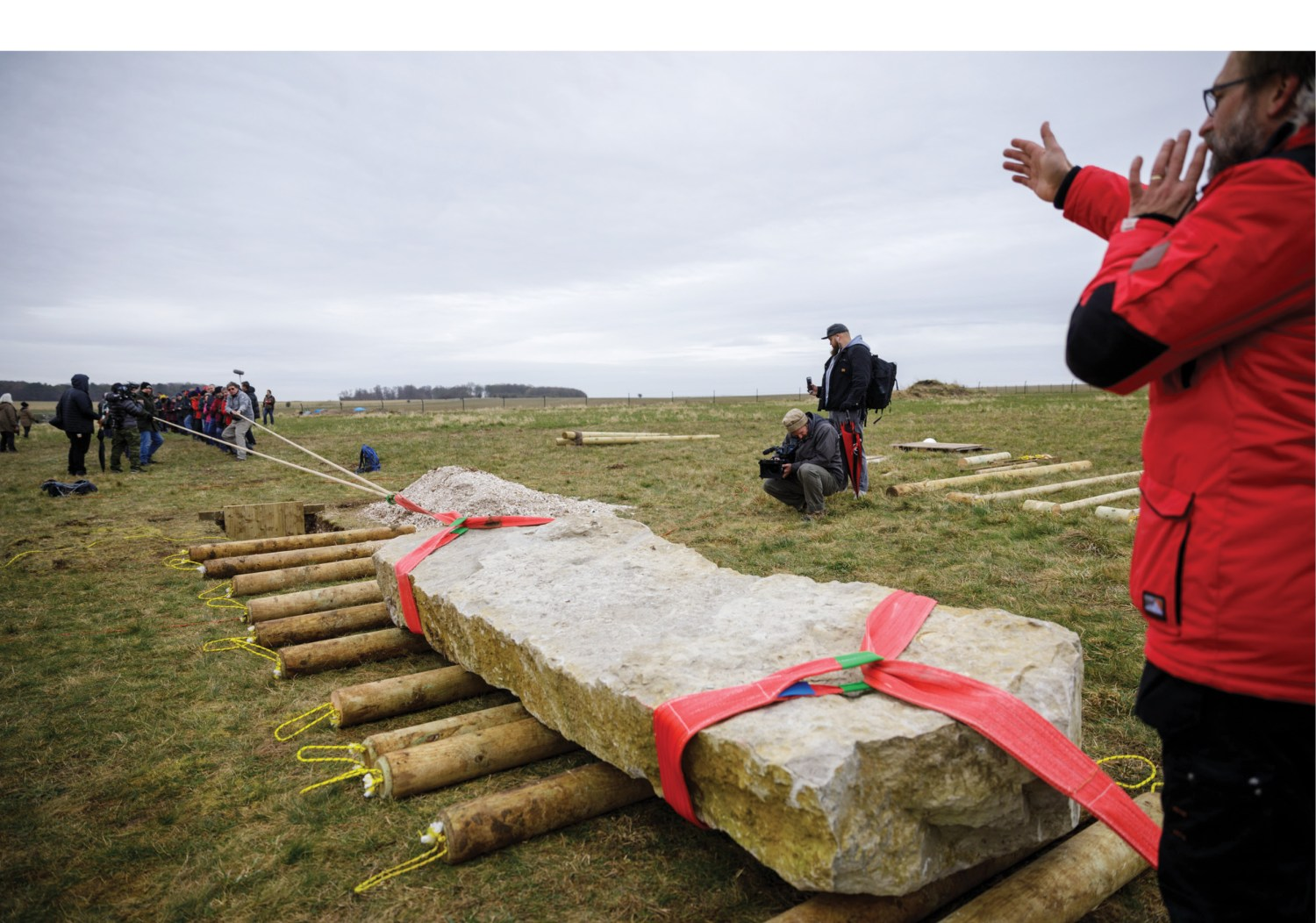 left In March, volunteers gathered at the Stonehenge Visitor Centre to take part in an archaeological experiment to explore how the celebrated monument's monoliths might have been moved.