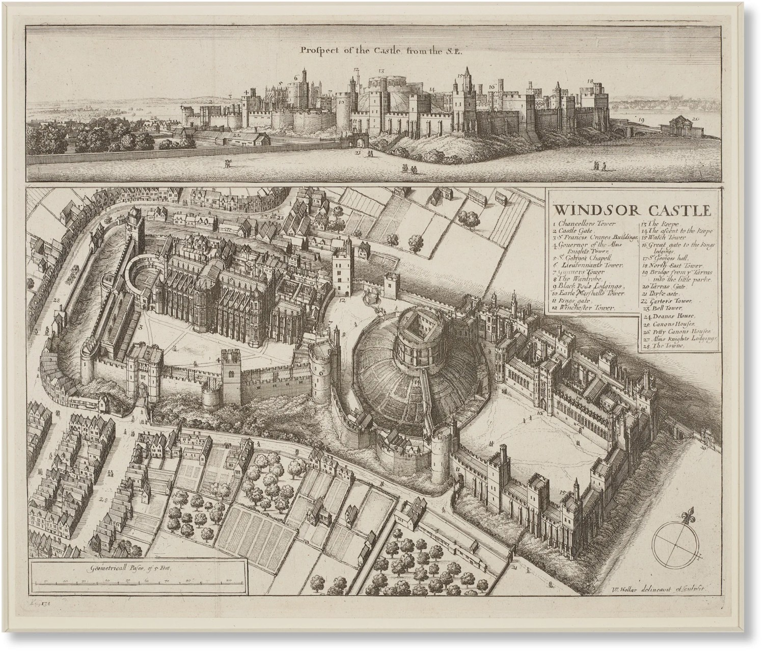 above Wenceslaus Hollar's view of Windsor Castle in 1672. John Evelyn, visiting on 8 June 1654, found the castle to be: 'large in circumference; but the rooms melancholy, and of ancient magnificence'. Samuel Pepys, visiting on 26 February 1666, was more alive to the appeal of the past and the spirit of the place: he called it 'the most Romantique castle that is in the world'.