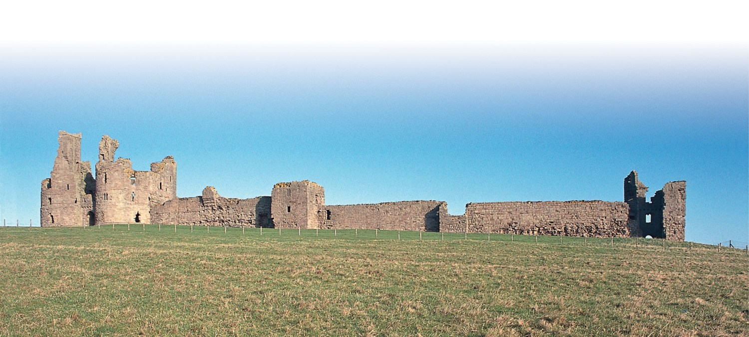 below Dunstanburgh Castle lies10km south of Bamburgh Castle. Defensive practicality here was less important than allusion to the Avalon of Arthurian legend; the only time the castle was seriously threatened was during the Second World War.