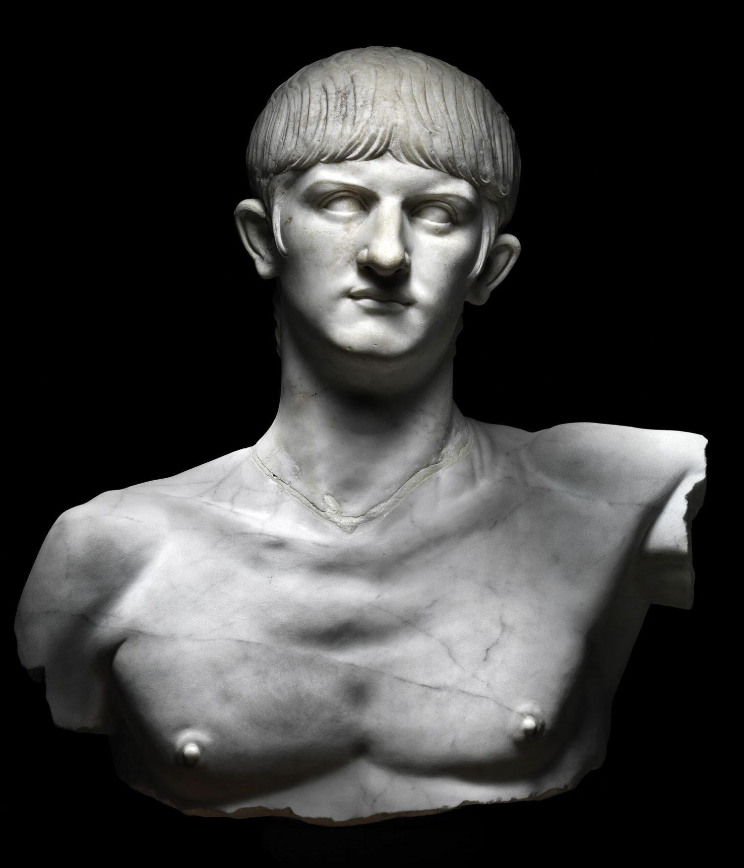 above Bust of Nero, Olbia, Italy. Marble, around AD 55 (restored). Size: 95cm high