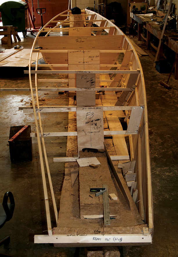 BeLOW Framing the debate: were temporary guides used to help shape Bronze Age boats' hulls? BELOW RIGHT after the upper strakes had been fixed in place.