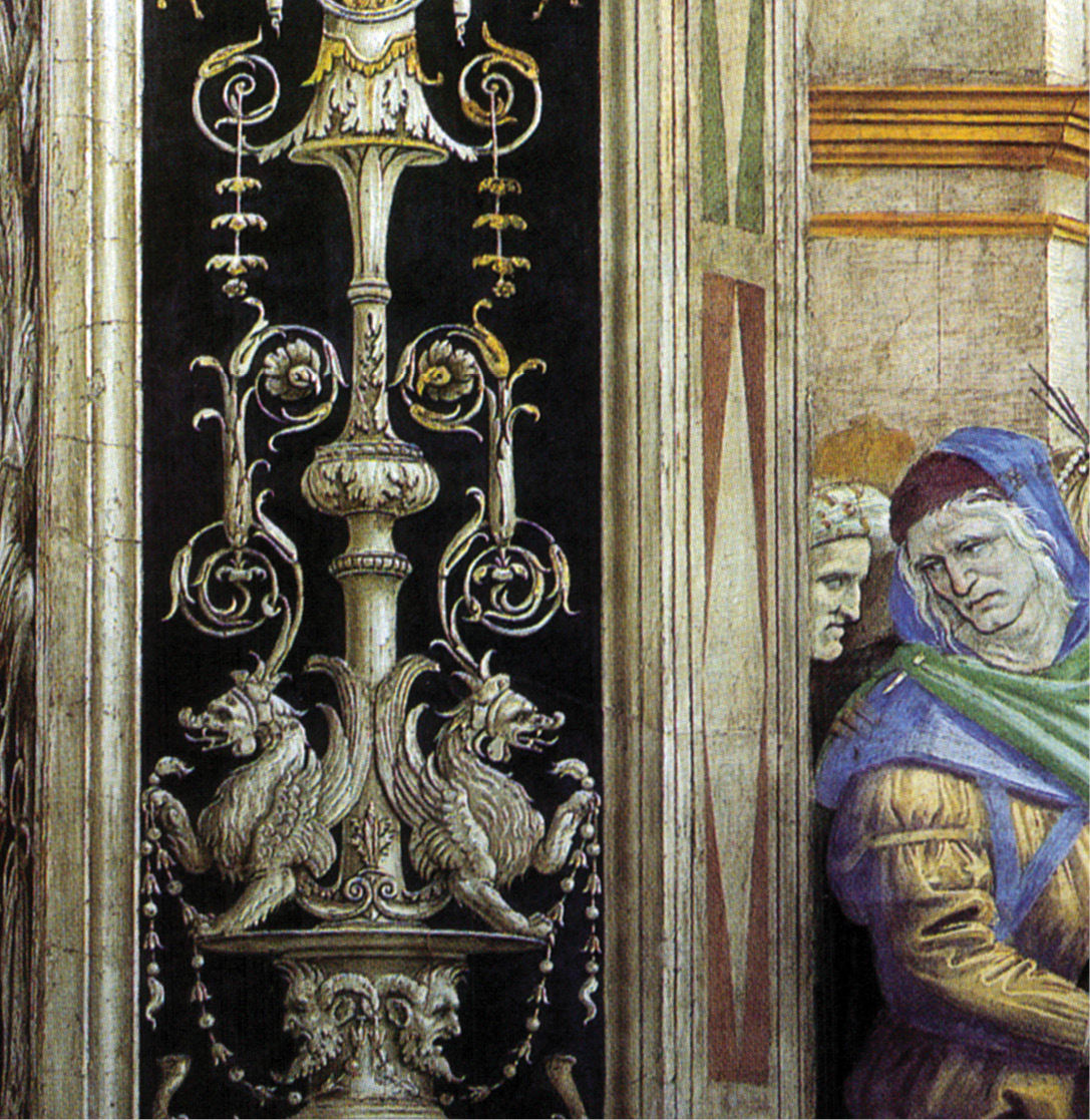 above & right Grotesque decoration in the Carafa chapel, Santa Maria sopra Minerva, Rome, 1489-1493. left Grotesques and an ancient philosopher, c.1503-1504, by Luca Signorelli in the cathedral at Orvieto.