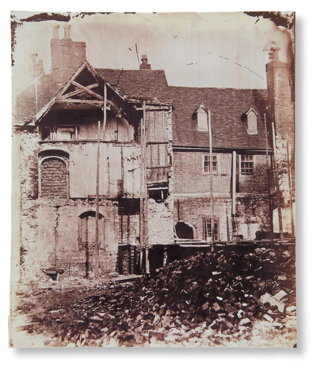 left The 'King's Hall' in the Lower Ward was largely demolished in the late 15th century, but evidence of the original 12th-century chamber block can be seen in this photograph dating from 1859. It was taken during the demolition of a Tudor block called Denton's Commons, which revealed a wall and two blocked doorways lined with finely finished masonry and part of the scissor-braced roof frame.