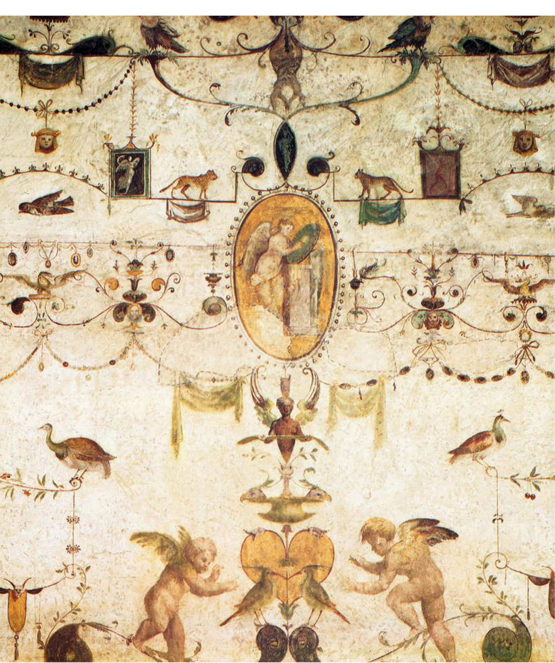 top Raphael's pupils decorated several Vatican rooms, including the Loggetta of Cardinal Bibbiena, after his designs inspired by ancient painting. They show fanciful grotesque designs, as well as scenes from the life of Apollo. above Fresco decoration painted in 1516-1517, by Giovanni da Udine, one of Raphael's pupils, in the Loggetta.