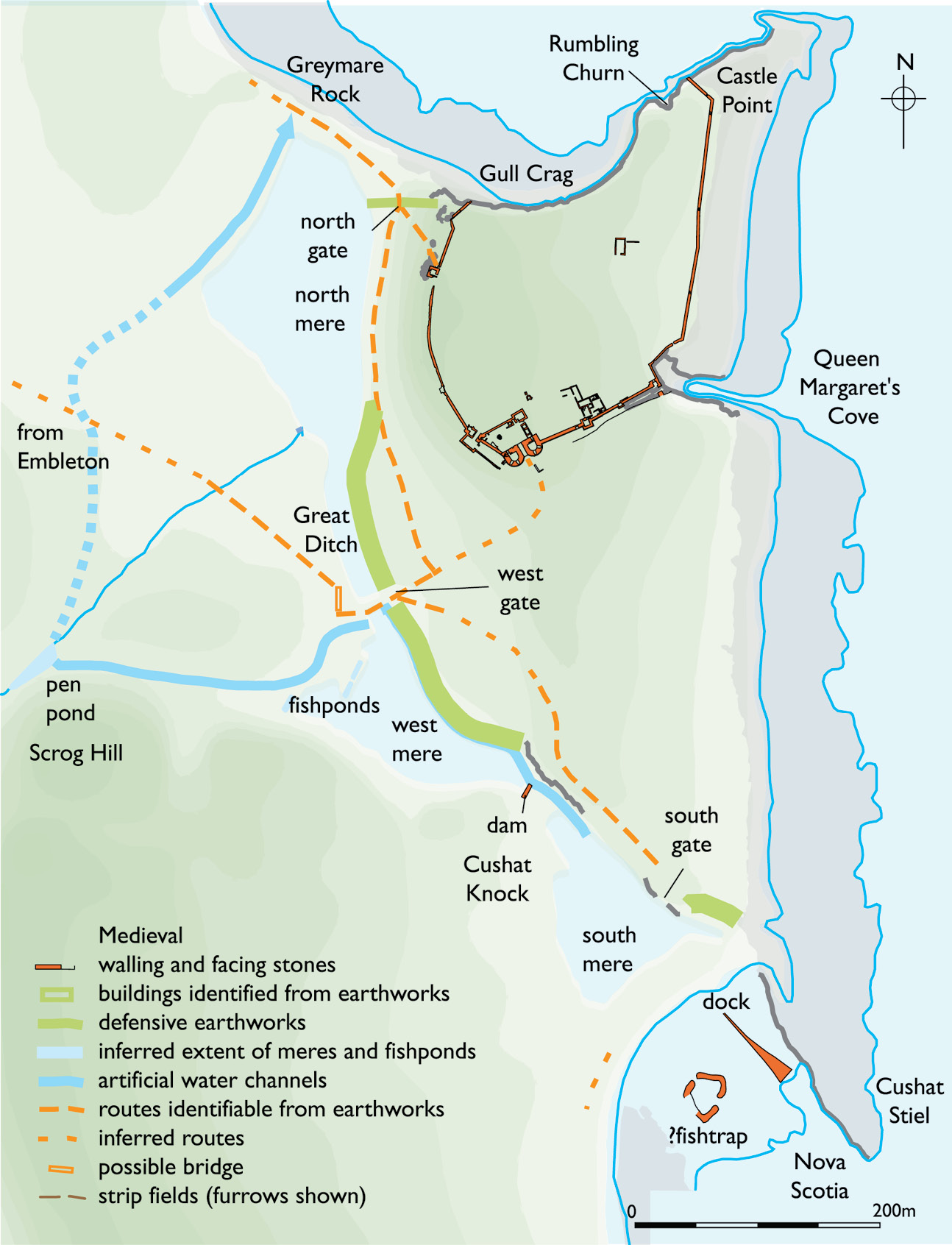 above An English Heritage survey of 2006, carried out by Alastair Oswald, revealed that the western approach to the castle at Dunstanburgh was marked by a line of spring-fed meres that enhanced the aesthetic effect.