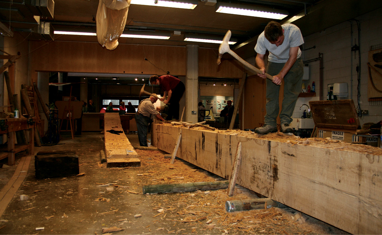 above Crafting the keel plank. Forming the lowest part of the hull, this was carved from two halves of a single trunk.