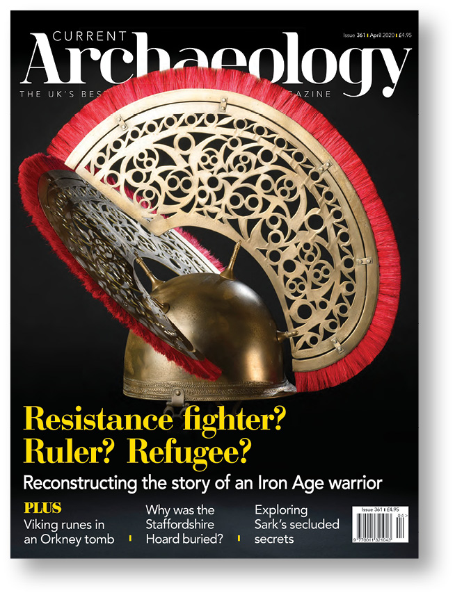 LEFT The cover of CA 361 featured a reconstruction of the distinctive helmet of an Iron Age warrior discovered at North Bersted.