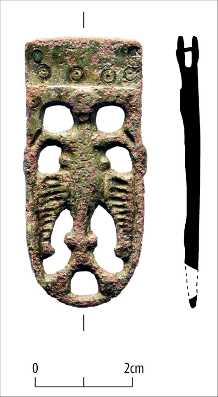 BELOW This 10th-century copper-alloy strap end was one of only a handful of late Saxon finds discovered during the excavation, although Cheveley has 10th-century origins. Such objects probably relate to agricultural activity on what was then the edge of the village.
