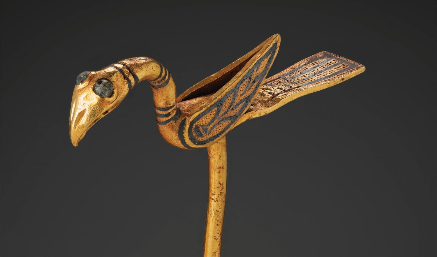 above The conserved gold bird pin from the Galloway Hoard.