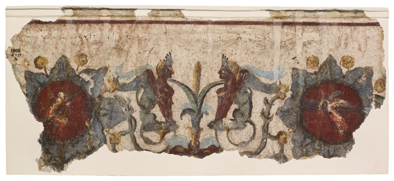 below Fresco fragments from the Domus Aurea, Italy, AD 64-68. Size: 16.5 x 36cm