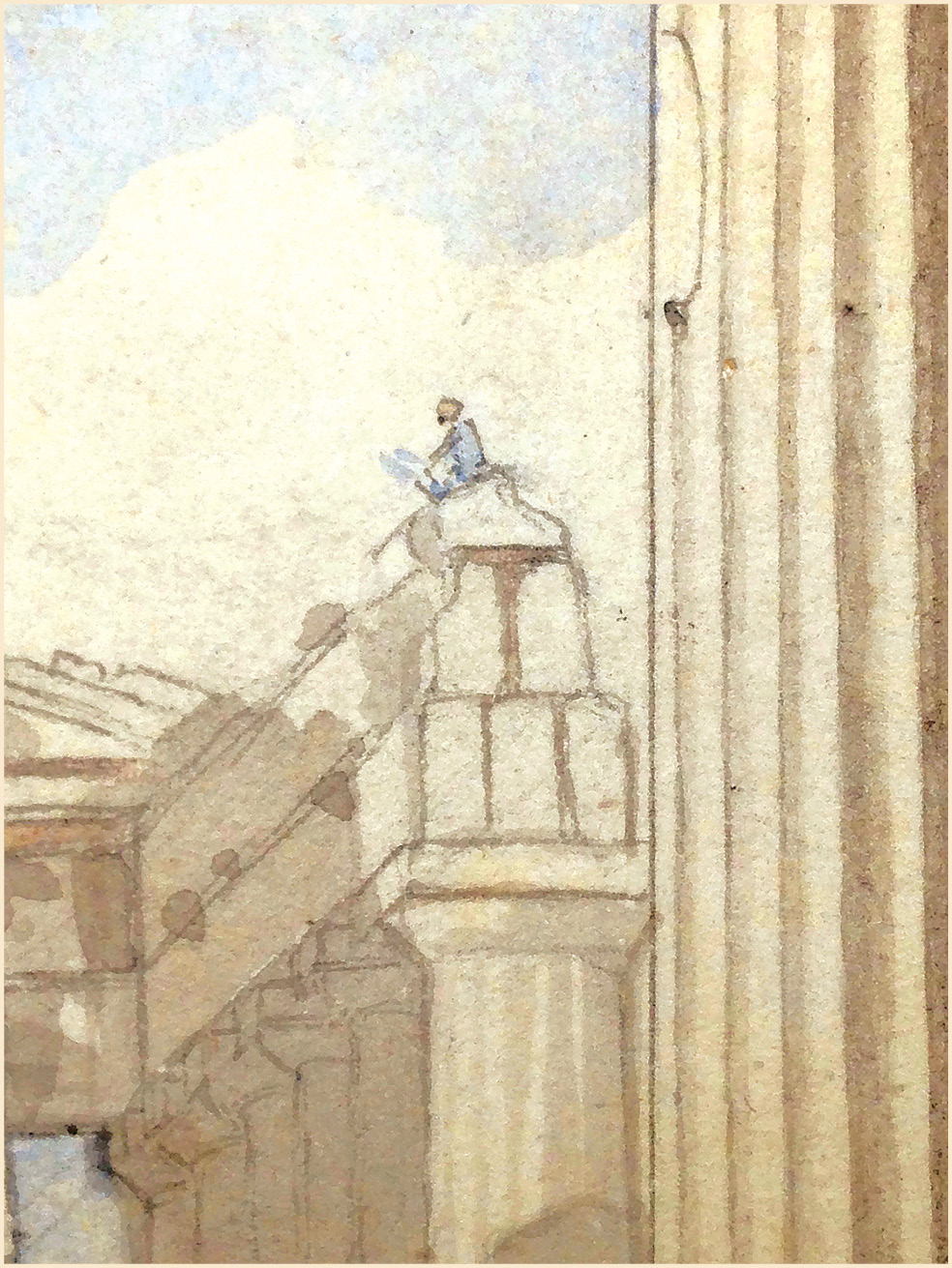 RIGHT In this detail of the above image, Pars is visible sketching on top of the Parthenon.
