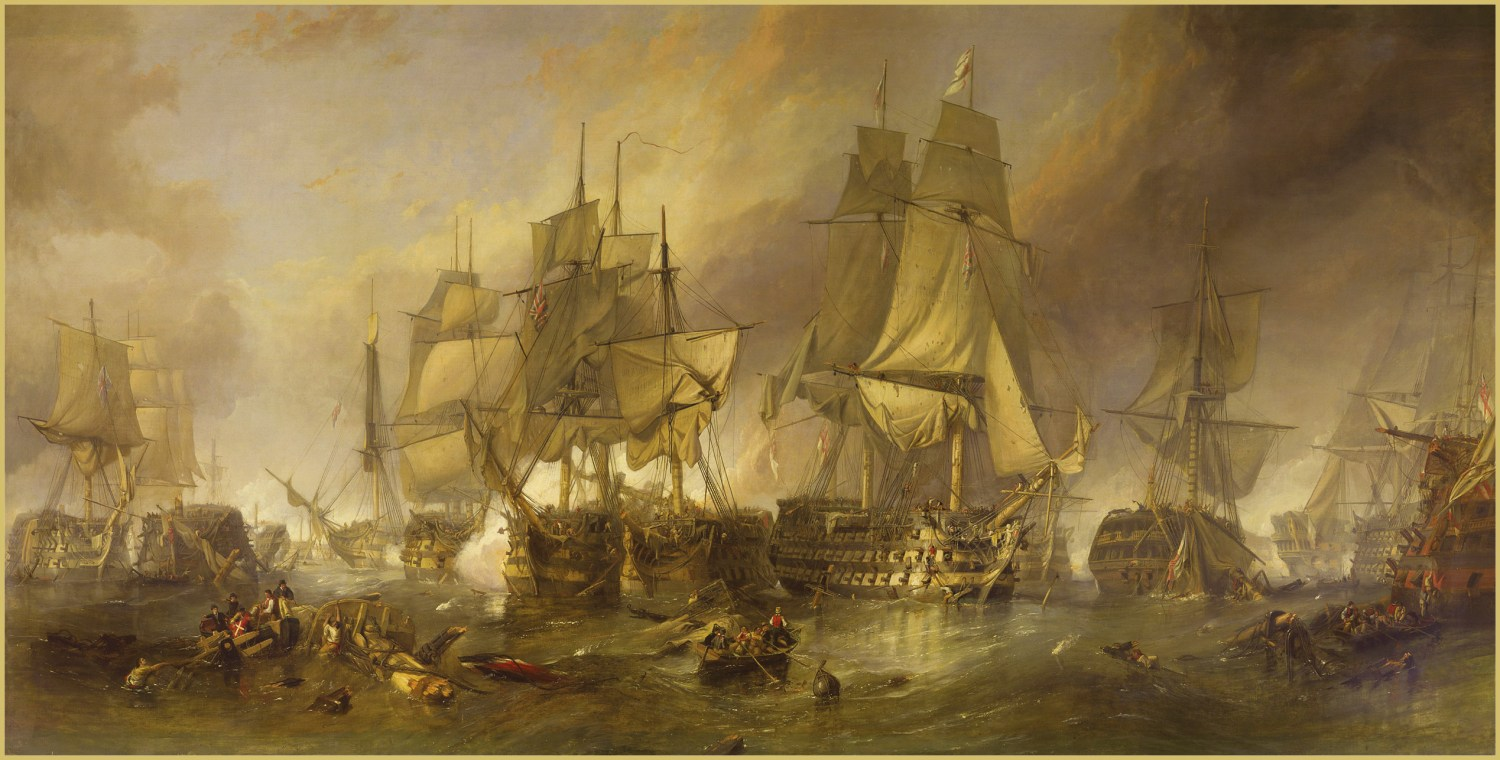OPPOSITE The Battle of Trafalgar (1836) by Clarkson Frederick Stanfield. The artist has chosen to depict the duel between HMS Victory, HMS Temeraire, and, between them, the French ship Redoubtable.