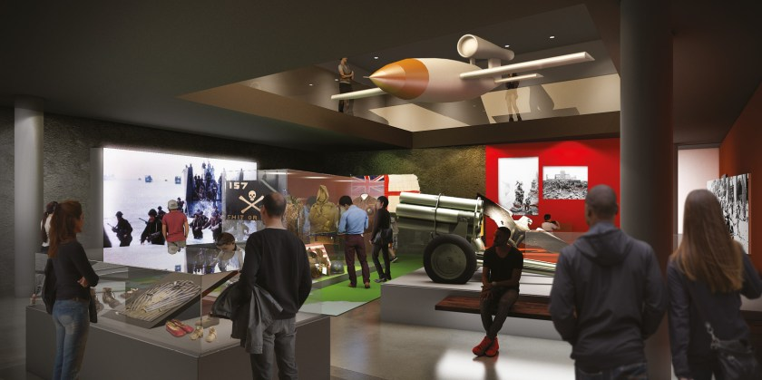 ABOVE A V-1 flying bomb will be suspended between the two new galleries, as this concept image shows.