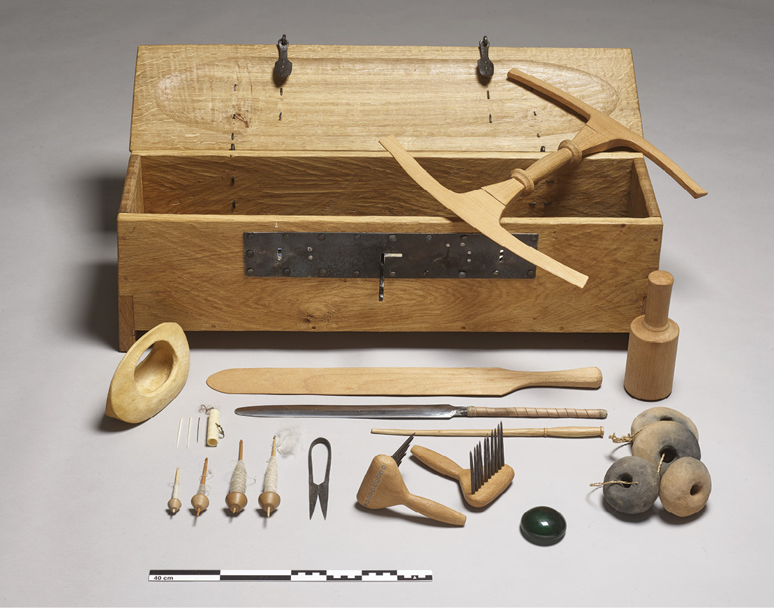BELOW The first part of the 'Fashioning the Viking Age' project produced a 'Textile and Tool Box' containing reproductions of textile and fibre samples and the tools used to create them.