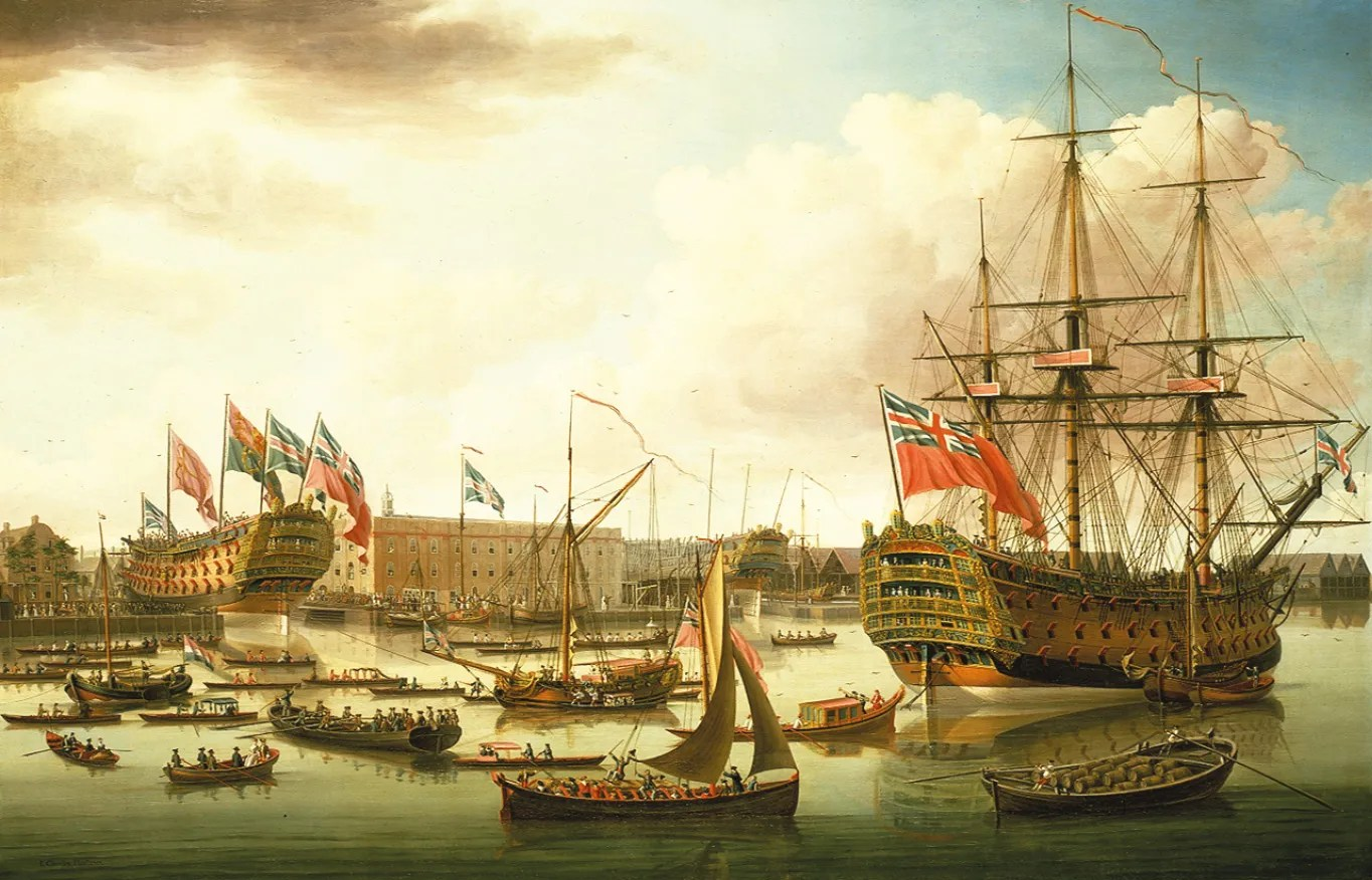 Below The Cambridge is launched while the men of the Royal George look on. The picture, painted in 1757, is in fact a composite of two separate events, but it illustrates well enough the vast industrial and commercial effort that lay behind British sea-power during the 18th century.