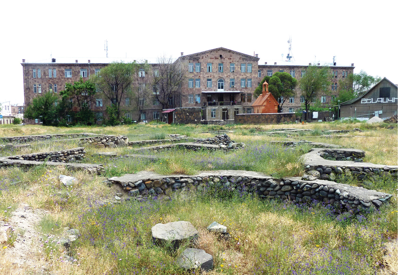 below The Shengavit hospital, built by the Soviets over the top of the Neolithic hillfort. Note the remains of the Neolithic houses in the