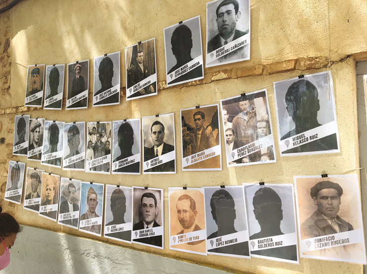 RIGHT The faces of the missing all victims of the Franco regime that were the focus of the excavation.