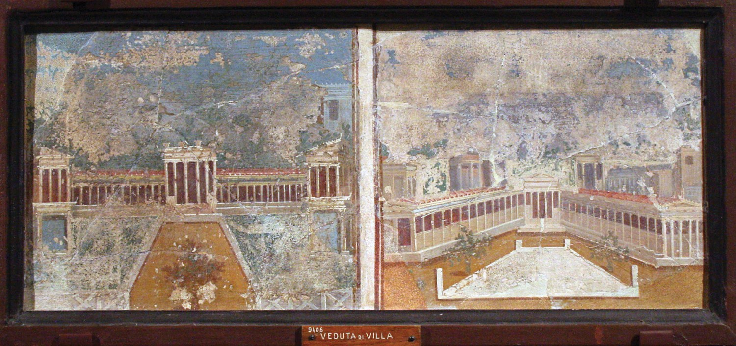 right The rise of the emperors left elite senatorial families in Rome with less scope for political power, while newly wealthy provincials and freedmen presented another threat to their standing. As a result, status was increasingly signalled by conspicuous displays of luxury, including palatial rural estates. Such trophy residences featured grand architecture, as shown in these paintings from Pompeii.