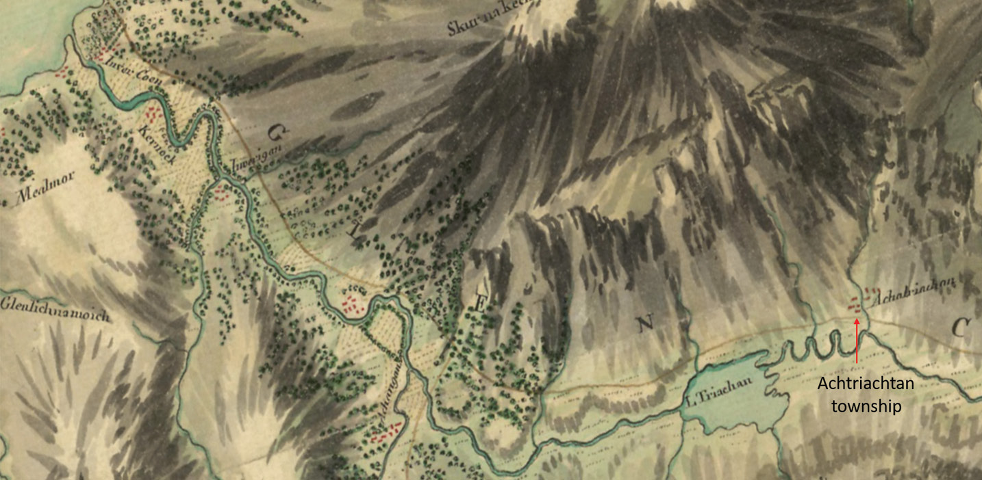 LEFT This image shows part of the earliest detailed map of Glencoe, a military survey undertaken by General William Roy between 1747 and 1755. Achtriachtan can be seen on the far right side.