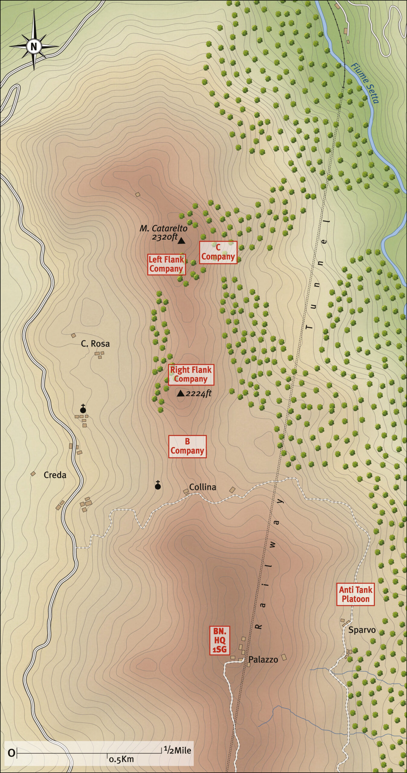 ABOVE The Battle of Catarelto, 28 September-3 October 1944, showing Scots Guards positions at 19.00 hours on 30 September. (The tunnel marked on the map was, in fact, a deep high-speed railway line one of Mussolini's pet ideas. This was not clear to the Allies, however, and 1st Battalion, Scots Guards, spent many hours searching for it in vain!)