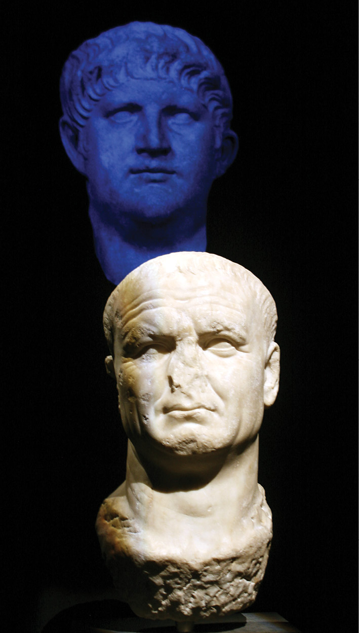 BELOW Meet the new boss... Vespasian would emerge as emperor following the bloody bout of civil war ignited by Nero's suicide. This rendering of the victor, though, bears some familiar features. Vespasian's head was carved out of an earlier sculpture of Nero, similar to that seen in blue above, with the earlier emperor's eyes and even on the back of the neck a few locks of his hair still identifiable.