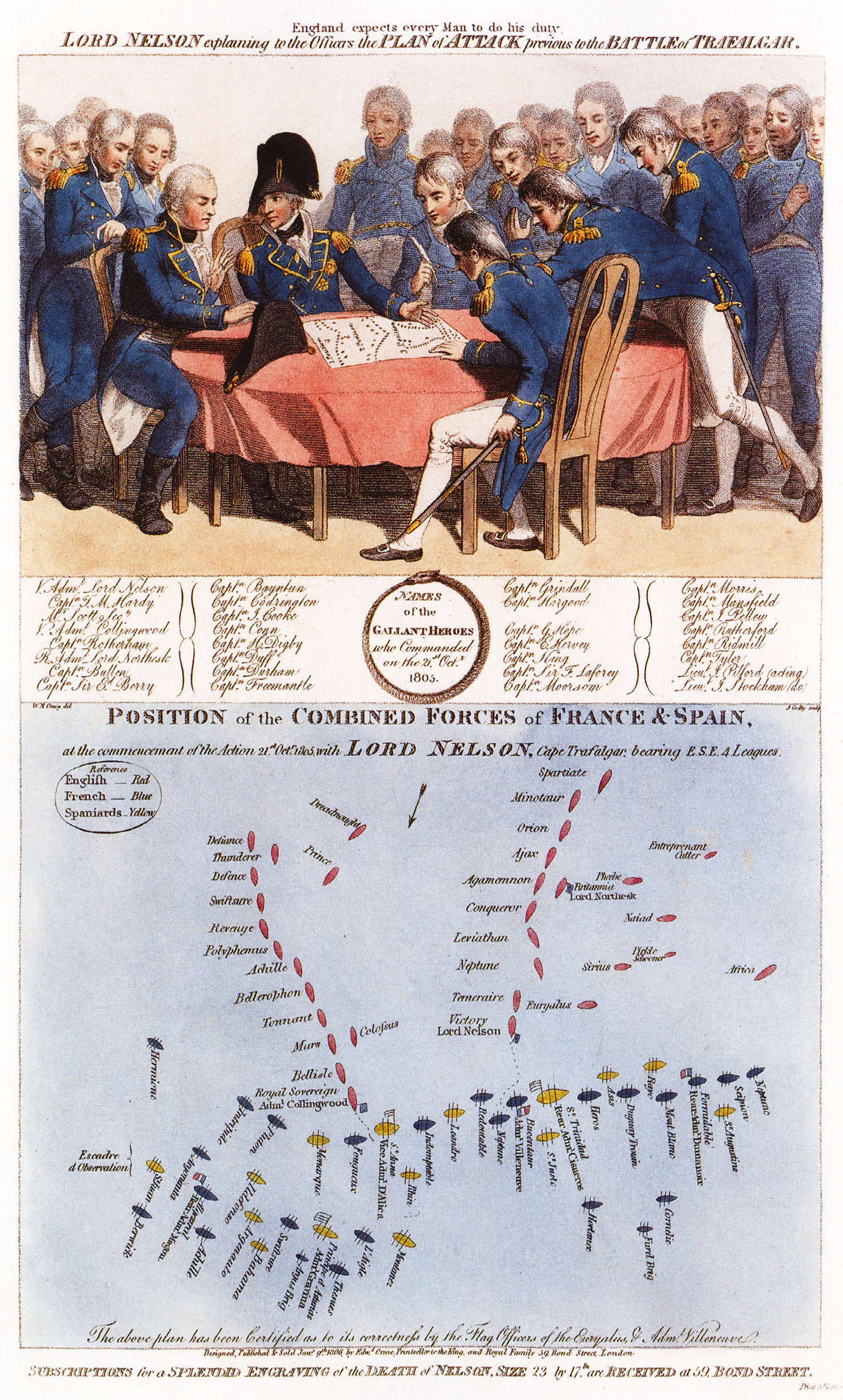 Above This famous contemporary image shows the meeting of Nelson with his captains at which he explained his plan for the forthcoming battle his 'Nelson touch' and also the actual deployment of the opposing fleets at the moment of collision on 21 October 1805.