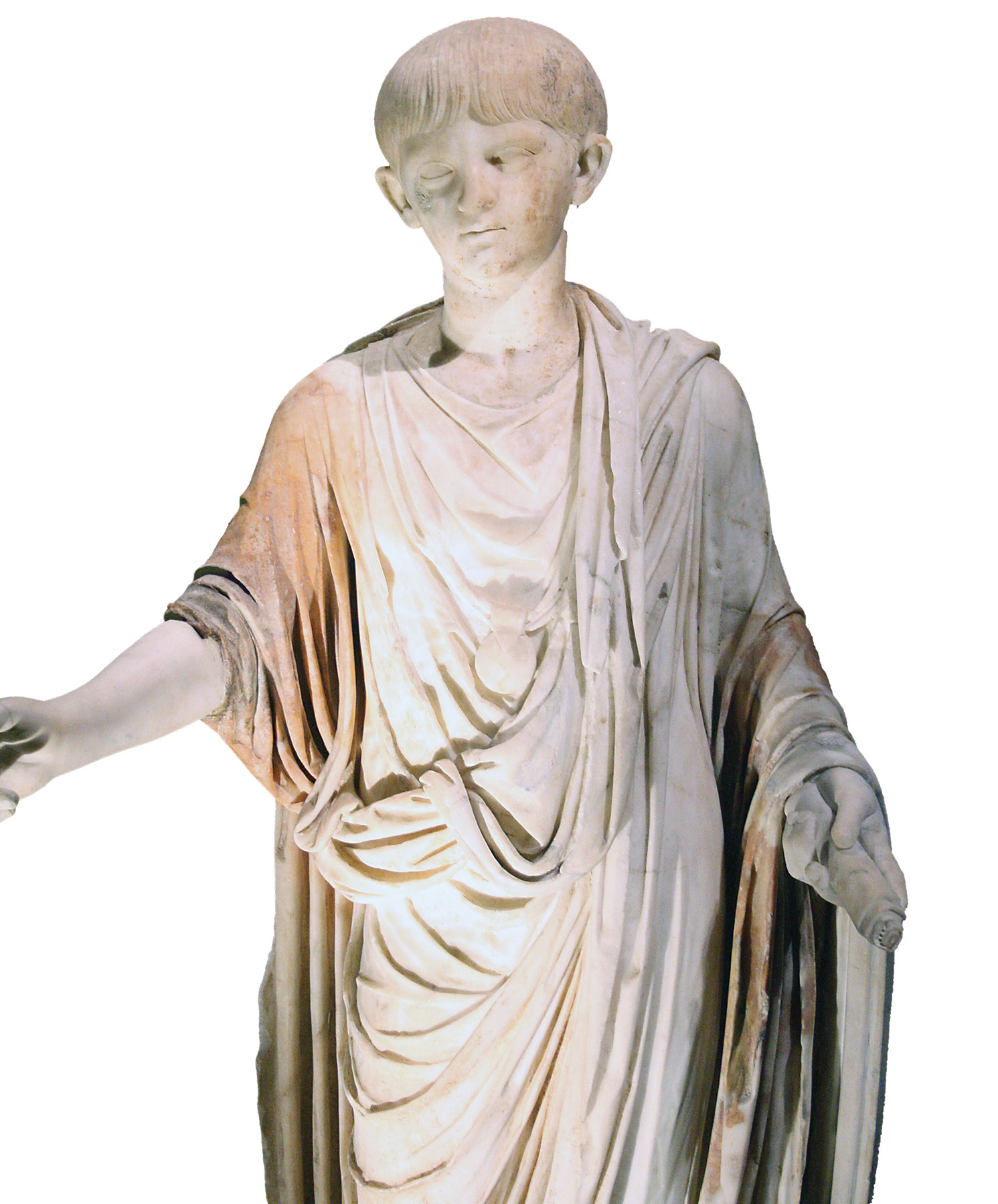 right The boy who would be emperor. This statue, standing 1.4m tall, shows Nero aged about 12 or 13, in AD 50-51. On his chest a bulla or amulet worn by freeborn male children is visible.