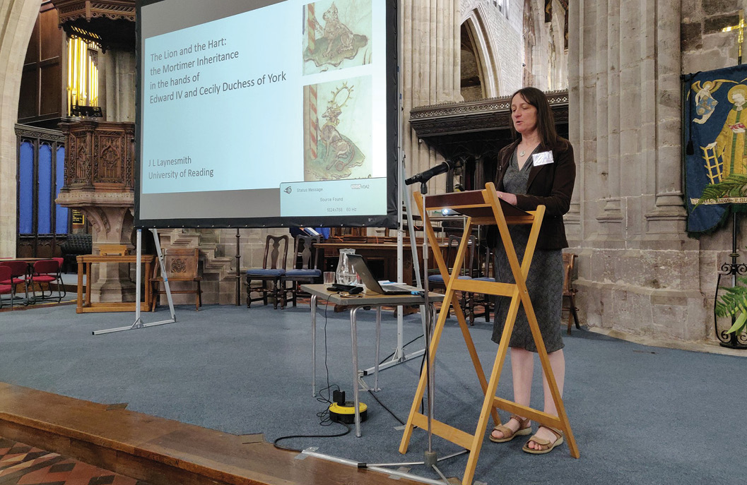 BELOW Dr Joanna Laynesmith speaking at a conference at St Laurence's Church, Ludlow, attended by over 200 people. Founded in 2009, the MHS is one of the most dynamic and fastest growing societies for people interested in medieval history, with more than 450 people joining in the last four years.